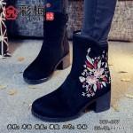 007-047 黑 【二棉】时尚休闲绣花女靴