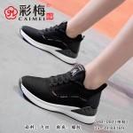 348-081 黑 时尚优雅内增高飞织女单鞋